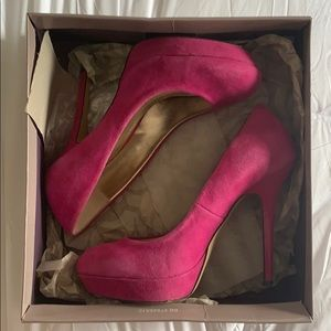 Cool Hot Pink Suede Platform Pumps w/ Original Box